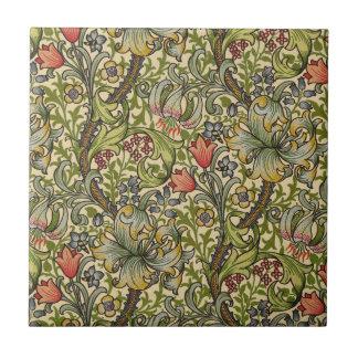 William Morris guld- lilja Liten Kakelplatta