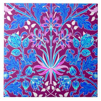 William Morris hyacinttryck, Aqua och lilor Kakelplatta