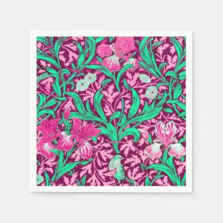 William Morris Irises, Fuchsia rosor och vin Pappersservett