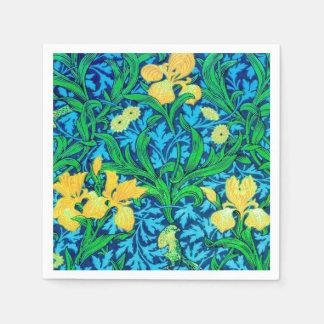 William Morris Irises, gult och koboltblått Servett