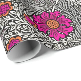 William Morris ringblomma, grått/grå färg och vit Presentpapper