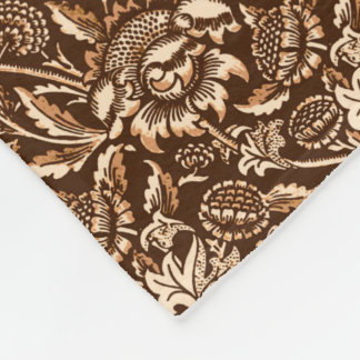 William Morris solrosor, choklad - brunt & beige Fleecefilt