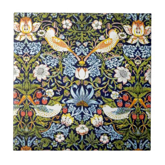William Morris vintagedesign - jordgubbetjuv Kakelplatta
