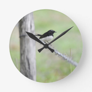 WILLIE WAGTAIL QUEENSLAND AUSTRALIEN MEDIUM RUND KLOCKA