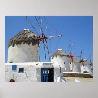 Windmills av Mykonos Poster