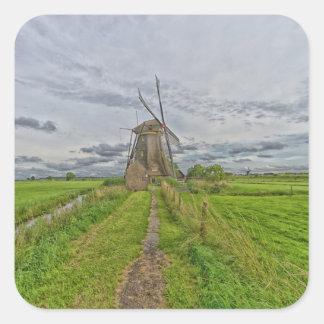 windmills av platsen för Kinderdijk världsarv Fyrkantigt Klistermärke