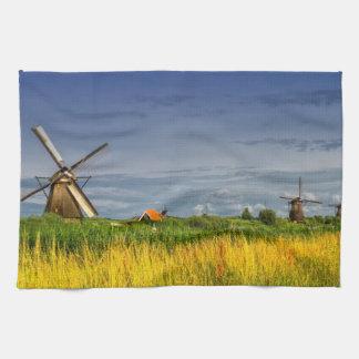 Windmills i Kinderdijk, Holland, Nederländerna Kökshandduk