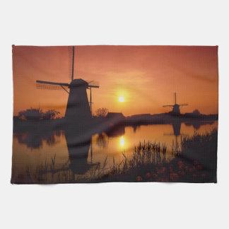 Windmills på solnedgången, Kinderdijk, Kökshandduk