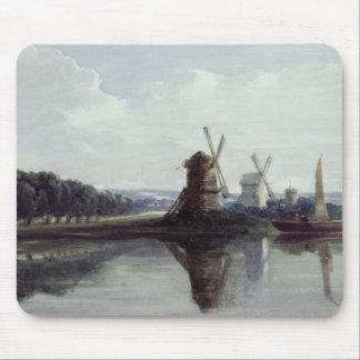 Windmills vid en flod, 19th århundrade musmatta