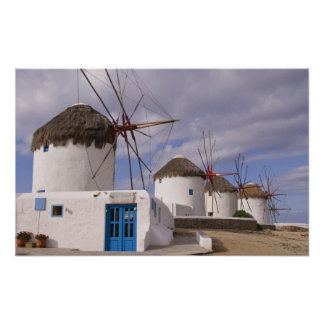 Windmillsna av Mykonos på de grekiska öarna Poster