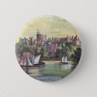 Windsor slott över Thamesen Standard Knapp Rund 5.7 Cm