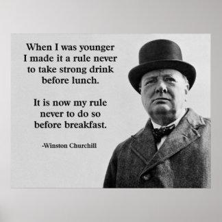 Winston Churchill dricka Poster