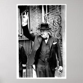 Winston Churchill V för seger Poster