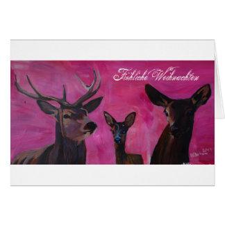 Winters Deer Family Froehliche Weihnachten Hälsningskort