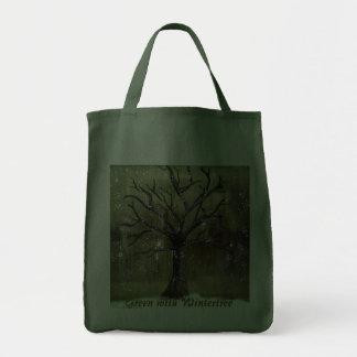 Wintertree går grönt hänger lös tygkassar