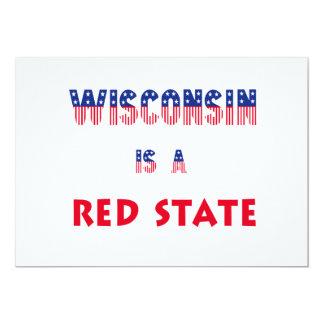 Wisconsin är ett rött påstår 12,7 x 17,8 cm inbjudningskort