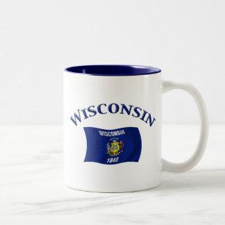 Wisconsin flagga Två-Tonad mugg