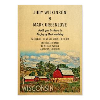 Wisconsin som gifta sig den lantliga 12,7 x 17,8 cm inbjudningskort