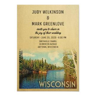 Wisconsin som gifta sig inbjudanvintage naturen 12,7 x 17,8 cm inbjudningskort