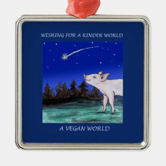 Wisher för en mer snäll världsVeganprydnad Julgransprydnad Metall