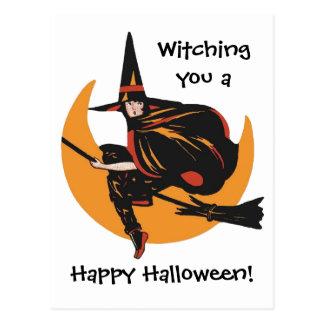 Witching dig ett vintagehappy halloweenkort vykort