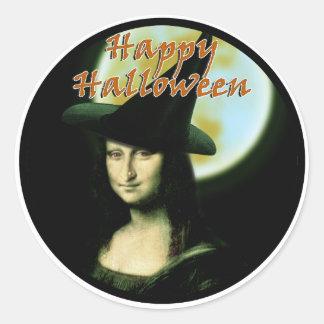 Witchy kvinna Mona Lisa Halloween Runt Klistermärke