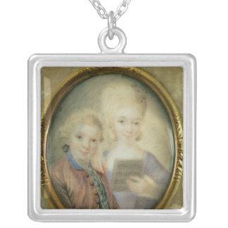 Wolfgang Amadeus Mozart och hans syster Silverpläterat Halsband