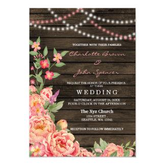 Wood bröllop för lantlig landpionladugård 12,7 x 17,8 cm inbjudningskort