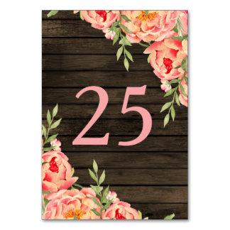 Wood bröllop för lantlig landpionladugård bordsnummer