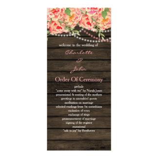 Wood bröllop för lantlig landpionladugård reklamkort