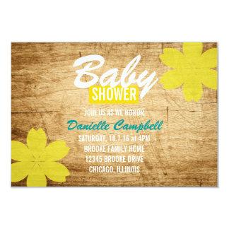 Wood dusch för baby showerinbjudan | 8,9 x 12,7 cm inbjudningskort