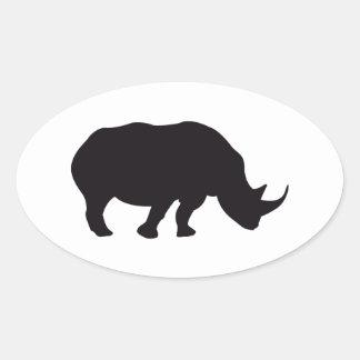 Wood gravyr för noshörningvintage ovalt klistermärke