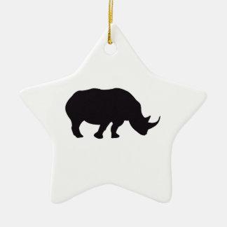 Wood gravyr för noshörningvintage stjärnformad julgransprydnad i keramik
