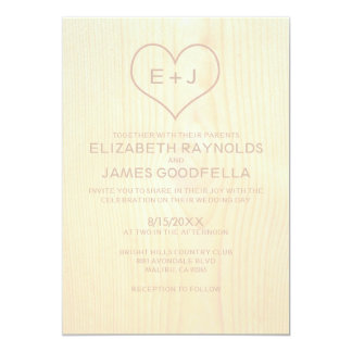 Wood kornbröllopinbjudningar 12,7 x 17,8 cm inbjudningskort