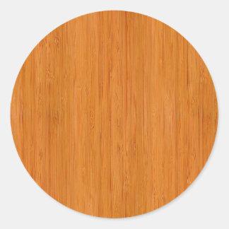 Wood kornLook för bärnstensfärgad bambu Runt Klistermärke