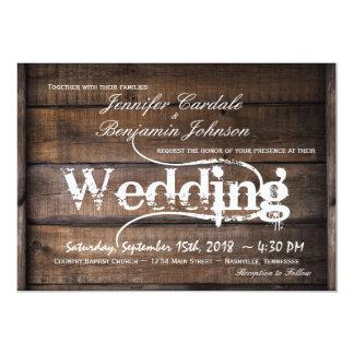 Wood landsbyggsbröllopinbjudningar för lantlig 12,7 x 17,8 cm inbjudningskort
