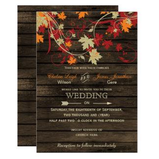 Wood lantliga höst löv bröllopinbjudningar för 12,7 x 17,8 cm inbjudningskort