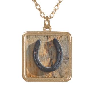 Wood Look för gullig lantlig western lycka Guldpläterat Halsband