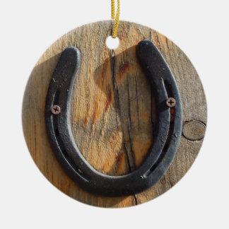 Wood Look för gullig lantlig western lycka Julgransprydnad Keramik