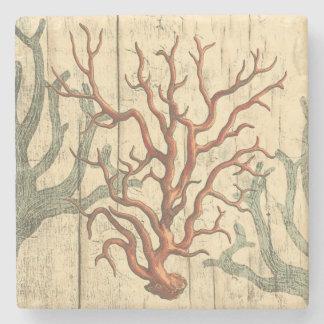 Wood och liten korall stenunderlägg