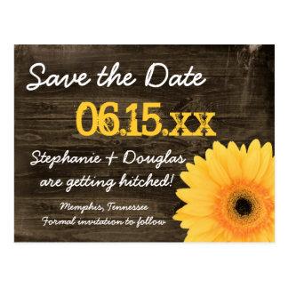 Wood spara för lantlig gul daisy dateravykorten vykort