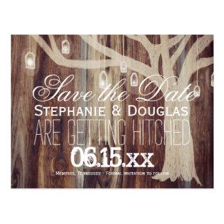 Wood spara för lantligt trädljus dateravykorten vykort