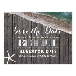 Wood spara för strandbröllopsjöstjärna datera vykort