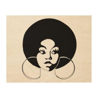 Wood väggkonst för afro- Diva Trätavla