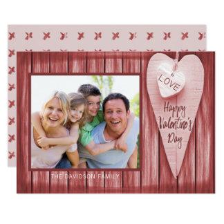 Wood valentin för landhjärtaladugård dag 12,7 x 17,8 cm inbjudningskort