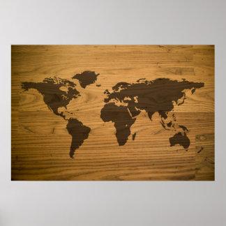 Woodgrain texturerad världskarta posters