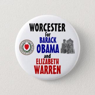 Worcester för Obama och Warren 2012 Standard Knapp Rund 5.7 Cm