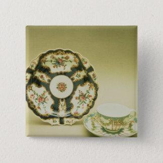 Worcester porslin pläterar med blåttdekoration standard kanpp fyrkantig 5.1 cm