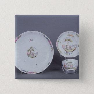 Worcester teabowl och saucer och maträtt standard kanpp fyrkantig 5.1 cm