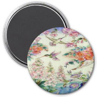 WOW för Hummingbirdsblommamålat glass Magnet Rund 7.6 Cm